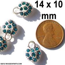 10 pcs Silver Plated 14mm x 10mm LOVE rhinestone charms pendants