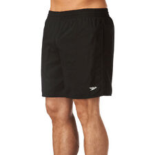 "SPEEDO MENS SWIM SHORTS.NEW SOLID LEISURE 16"" WATER BLACK TRUNKS SWIMMERS 910001"