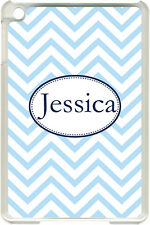Monogrammed Baby Blue Chevron Design on iPad Mini Frosted Clear Case Cover