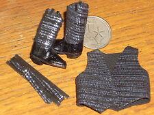 Dollhouse Miniature Prestige Cowgirl Black Leather Belt Boots Vest 1:12 #C19-BBV
