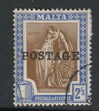 * MALTA 1926 SG153 2s Brown and Blue POSTAGE Fine used