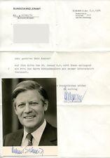 HELMUT SCHMIDT - orig. Autogramm + Brief aus dem Bundeskanzleramt von 1976