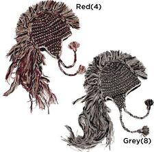 Hand Made Wool Nepal Peruvian Style Ski Mohawk Beanie Trooper Hat Unisex Gray