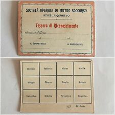 237) Tessera di riconoscimento Società Operaia di Mutuo Soccorso Sturla-Quarto