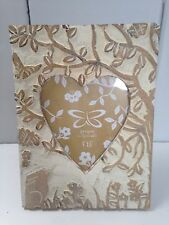 Farmhouse Rustic Carved Wood White Washed Heart Rabbit Frame 'Tangled Woods'