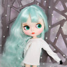 Blythe Nude Doll from Factory Jointed Body Mint Green Long Hair Make-up Eyebrow