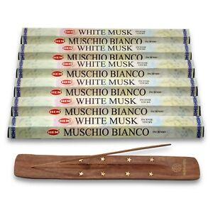 6 Packs HEM White Musk Fragrance Incense Sticks + Free Vedmantra Stick Holder
