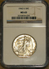 1943-S 50C Silver Walking Liberty Half-dollar NGC MS 65 3326834-030 + Bonus