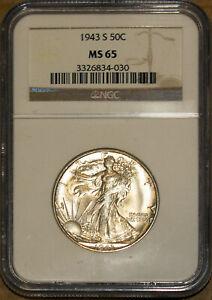 1943-S 50C Silver Walking Liberty Half-dollar NGC MS 65 3326834-030 + Bonus