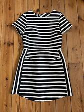 Topshop Petite Ladies Black And White Satin Style Dress Size UK 4
