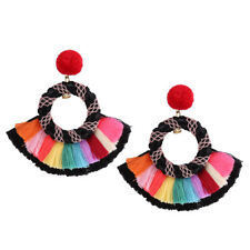 Fashion Ethnic Colorful Bohemian Tassel Dangle Drop Earrings Jewelry for Women