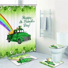 Happy St. Patrick's Day Bathroom Waterproof Shower Curtain Toilet Cover Mat Set