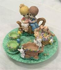 1997 Precious Moments Miniature Tea Party Set Children on a Stump
