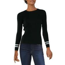 Aqua Womens Black Contrast Trim Ribbed Knit Pullover Sweater Top XS BHFO 5234