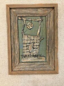 "Rustic Framed Metal Art Farmhouse Wishing Well & Burlap Signed Maxie 16""x12"""
