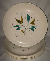 "6 Salem FREE FORM DAYBREAK TURQUOISE LEAVES 10"" DINNER PLATES*MCM"