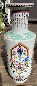 """Antique Kangxi Chinese 1662-1722 Porcelain Vase Unusual 18"""" Painted Signed 😱"""