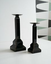 BIBA black glass candle holders