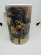 """Thomas Kinkade Village Christmas Mug Used Condition Ceramic 5"""" Tall"""