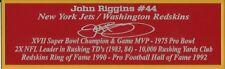 John Riggins Autograph Nameplate Washington Redskins Autograph Helmet Jersey