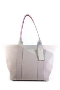 Rothys Extra Large Zip Up Woven Tote Handbag Lavender Grey