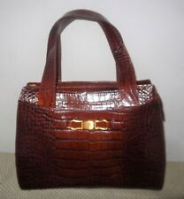 LIZ CLAIBORNE BROWN EMBOSSED LEATHER / FAUX CROCODILE HANDBAG METAL FEET