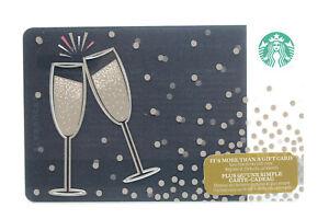 Starbucks Coffee 2014 Gift Card Champagne Flutes Toasting Glasses Zero Balance