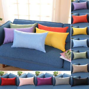 Rectangular Cushion Cover Cotton Linen Pillow Case Sofa Pillowcase Home Decor