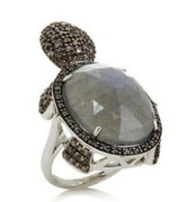 RARITIES Carol Brodie Labradorite Champagne Diamond Turtle Ring  7 $910