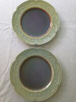 """Two Green & Blue scalloped edge and swirl Dinner Or Serving Plates 12"""" Look New!"""