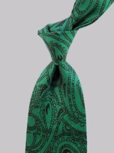 "Skinny Green Black Paisley FERRE Silk Tie 3.2"" Wide"