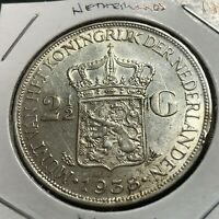1938  NETHERLANDS SILVER 2 1/2 GULDEN HIGH GRADE CROWN
