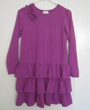 Hanna Andersson 150 Dress 12 Magenta Hot Dark Pink Ruffle Tier Stretch Girls