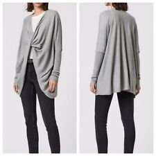 All Saints Size 4 Itat Shrug Oversized Cotton Knit Wrap Cardigan Sweater In Gray