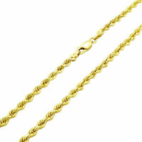 """Real 10K Yellow Gold 2.5mm Diamond Cut Italian Rope Chain Pendant Necklace 22"""""""