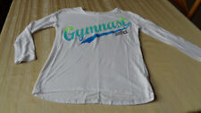 JUSTICE ACTIVE - Shirt Girls Size 12 -  GYMNASTIC Theme - TSHIRT -WHITE -LONG SL