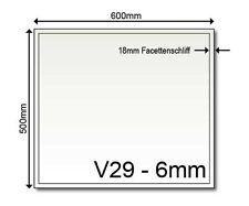 Glasbodenplatte V29 klein Glas Kamin Platte Ofen 6 mm Vorleger Neu 600 x 500 mm