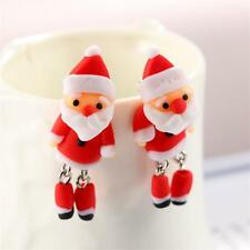 Christmas Lady Handmade Polymer Clay Soft Cute Santa Earrings Ear Stud Jewelry