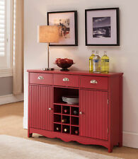 Kings Brand Furniture - Buffet Server Console Table with Wine Storage, Red
