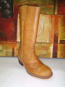 WILD COUNTRY Vtg Women's Tan Tall Leather Western Cowboy Boots Sz-8D