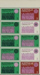 1971 Australian Hinged Large Christmas Tab Block of 10x 7c - Colour Stamp issues