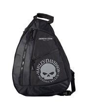 Harley-Davidson® Willie G Skull Black & Gray Sling Backpack Bag BP1957S-GRYBLK