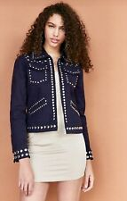 NWT Urban Outfitters Ecote blue Canvas Cotton Silver Studded Zip Up Jacket M