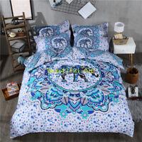 Single/Double/Queen/King Size Bed Quilt/Doona/Duvet Cover Set Elephant Bohemia