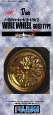 Fujimi Models 1/24 17inch Wire-Spoke Gold Type Wheels & Tyres (4 Wheels+Tyres)