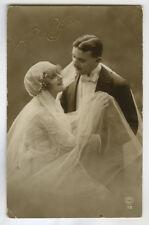 1920sFrench Fashion PRETTY FLAPPER BRIDE Wedding Marriage photo postcard