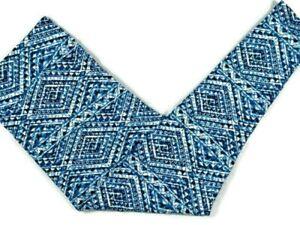Lularoe Womens Leggings TC2 18-28W Blue White Aztec Geometric Tall & Curvy 2