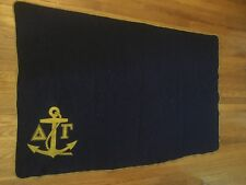 """Vintage Wool Blanket Navy Blue & Gold A T Anchor 76"""" X 60"""" Military? Naval?"""