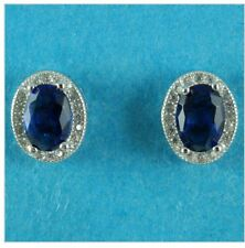 925 Sterling Silver Sapphire Blue Diamond Created Oval Wedding Earring IE63