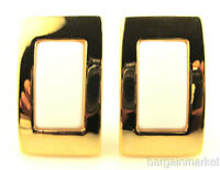14K Gold EP & White Rectangle Clip On Fashion Earrings